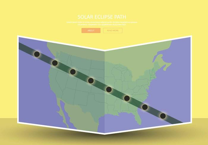 Illustrazione della mappa del percorso di eclissi solare gratuita degli Stati Uniti