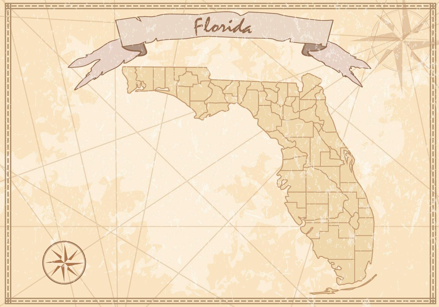 Vintage Florida Map - Download Free Vectors, Clipart ...