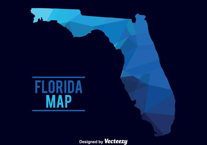 Blå Florida Map Vector