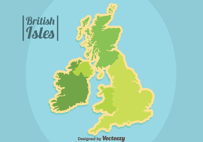 Green British Isles and Republic of Ireland Vector