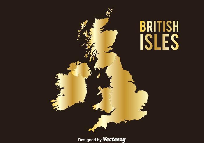 Golden British and Irish Isles Vector