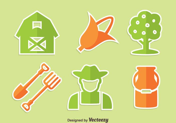 Green And Orange Peasant Icons Vector