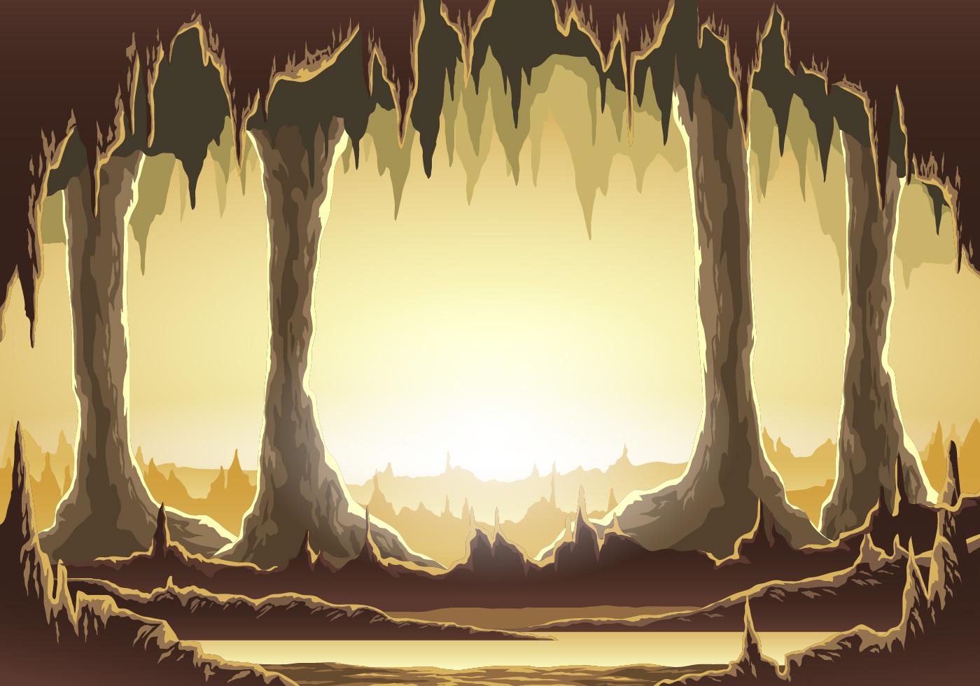 vector illustration inside cavern