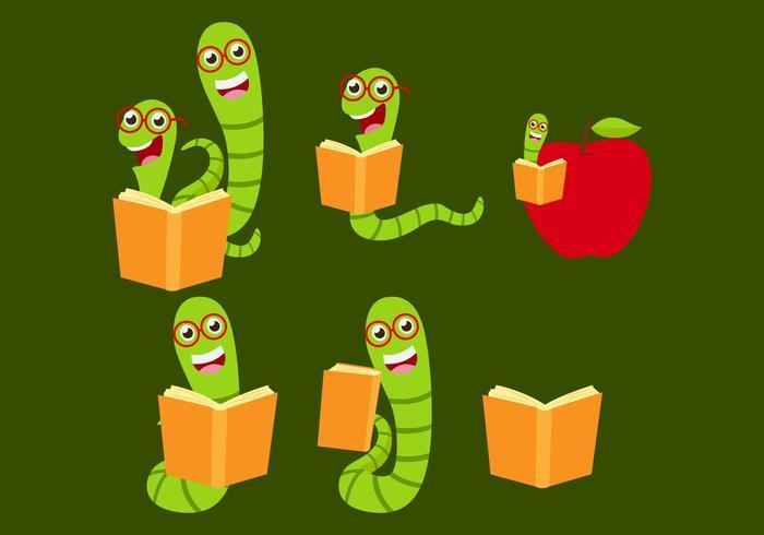 Green Bookworm Vectors
