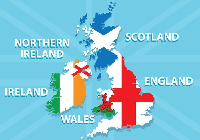 Republic of Ireland and British Isles Map vector