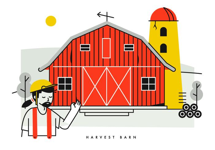 Peasant Showing Red Harvest Barn Vector Illustration