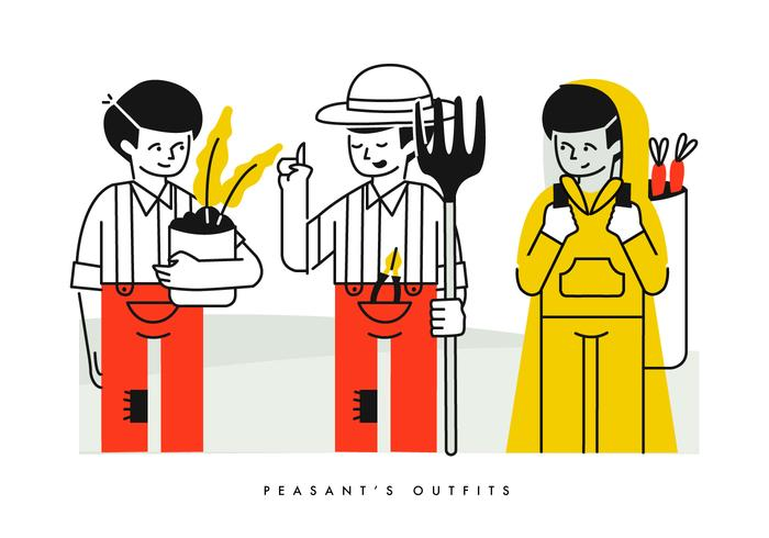 Peasant Farming Outfits Character Vector Illustration