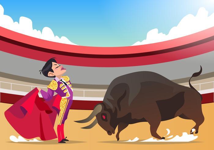 Bullfighter versus Angry Bull Vector