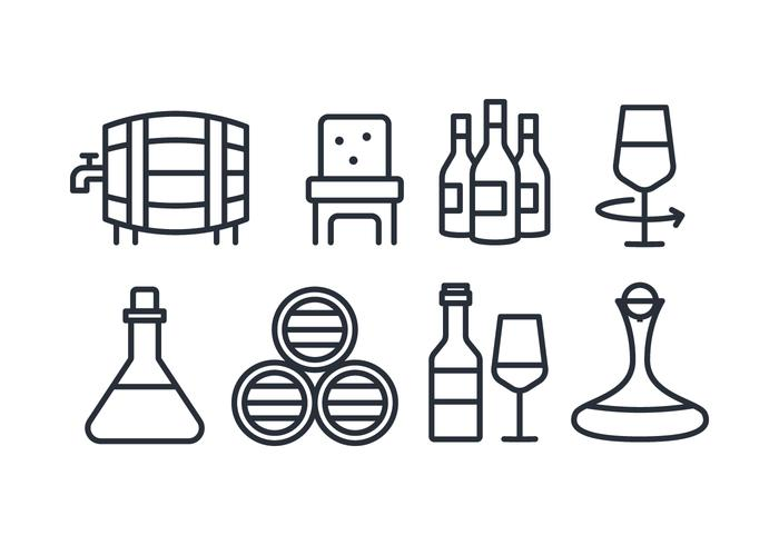 Flat Line Wine Icons