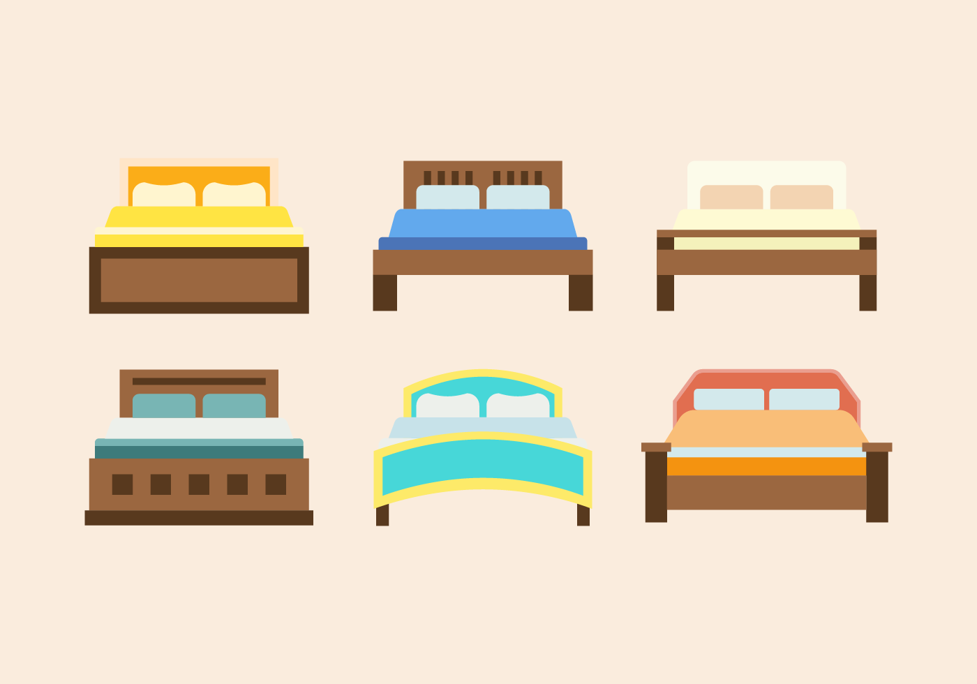 Bedroom Interior Design Set Furniture Vector ~ Double beds furniture vector download free art