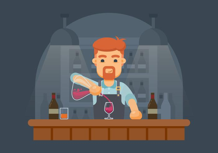 Bartender Derramando Vinho De Decanter Illustration