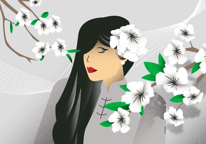 White Dogwood Flower Girl Background Vector Illustration