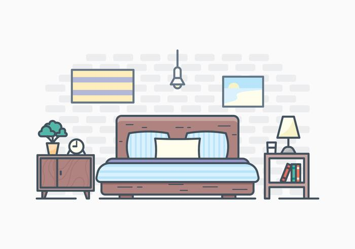 Free Simple Bedroom Illustration