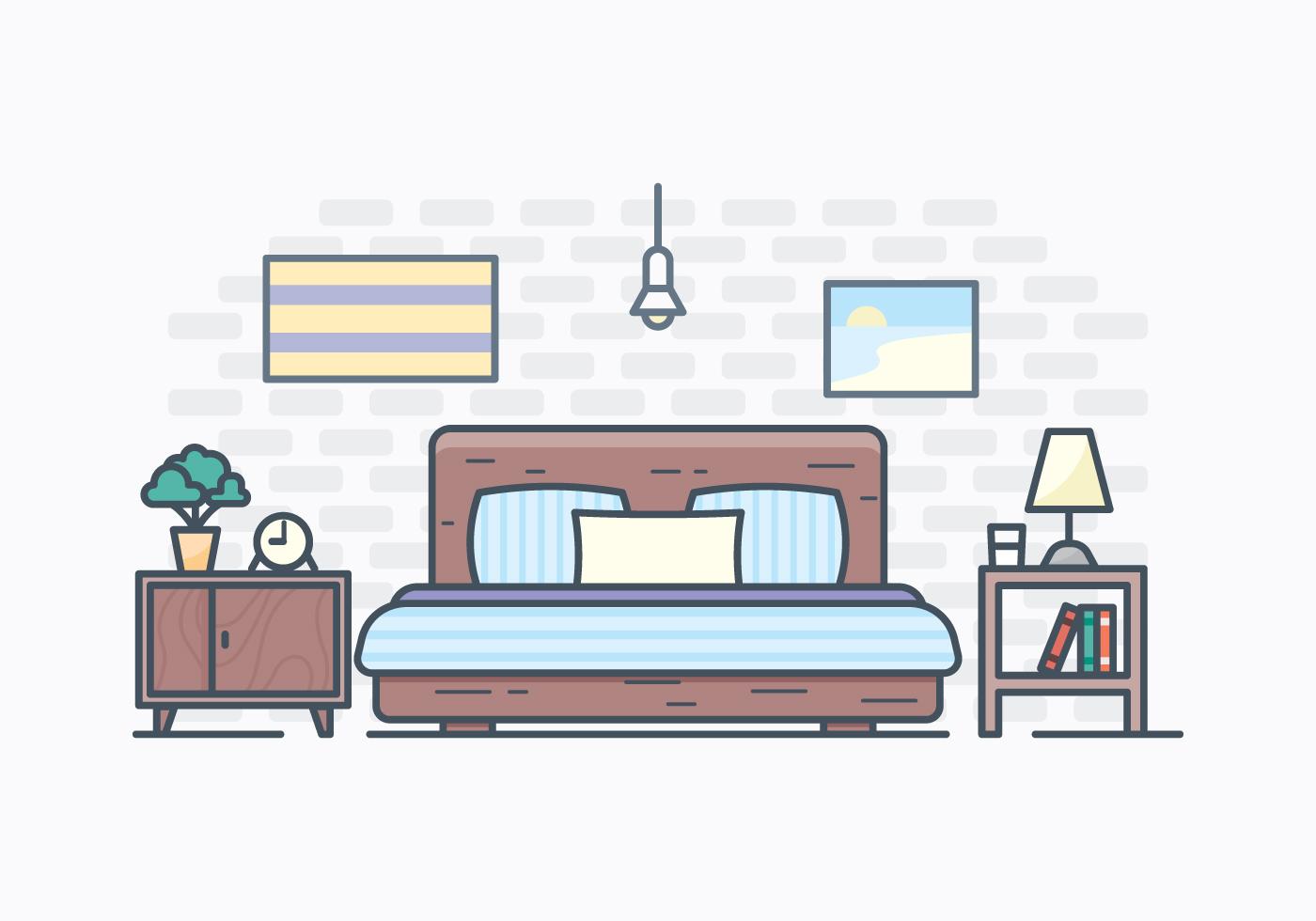free simple bedroom illustration  download free vectors