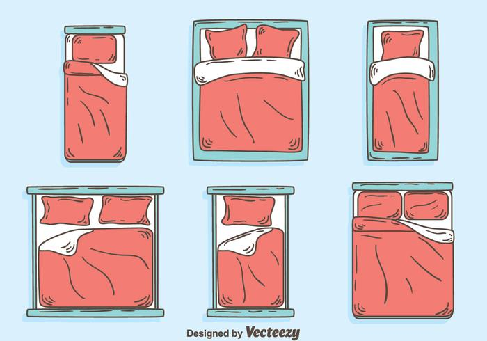 Hand Drawn Bed Collection Vector