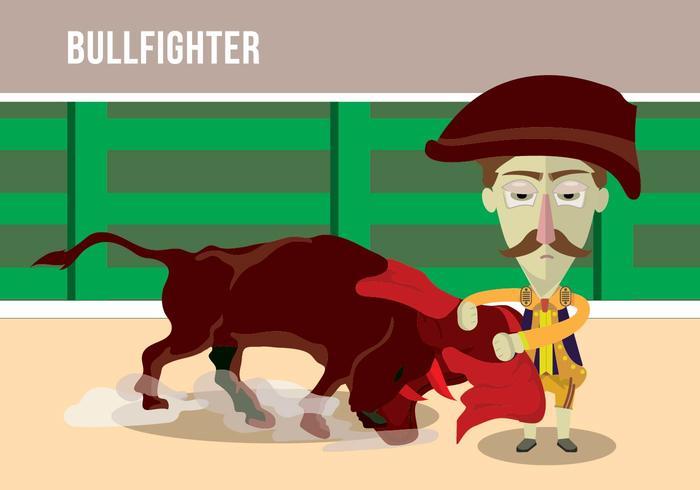 Bull fighter cartoon illustration vector