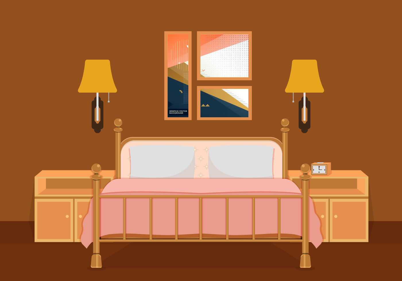 Interior of bedroom vector illustration download free for Interior design bedroom images free download