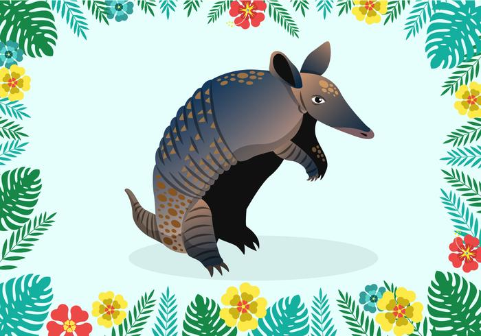 Armadillo With Floral Element Vector Illustration
