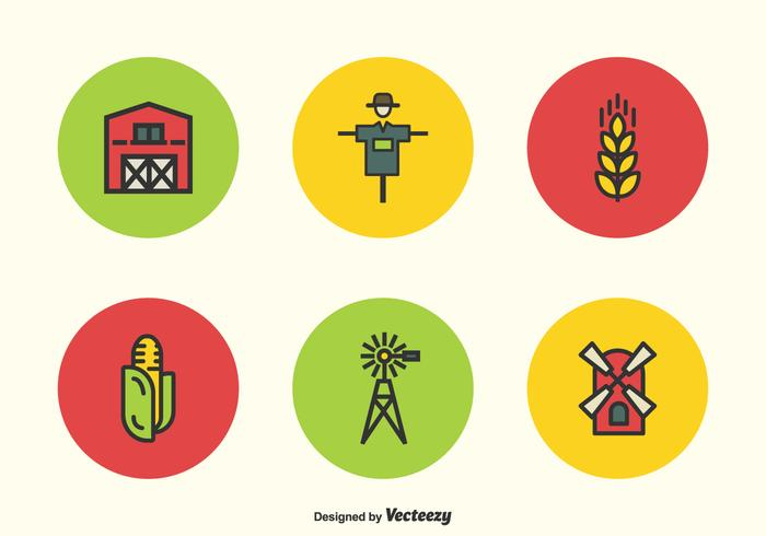 Flat Line Farming Vector Icons
