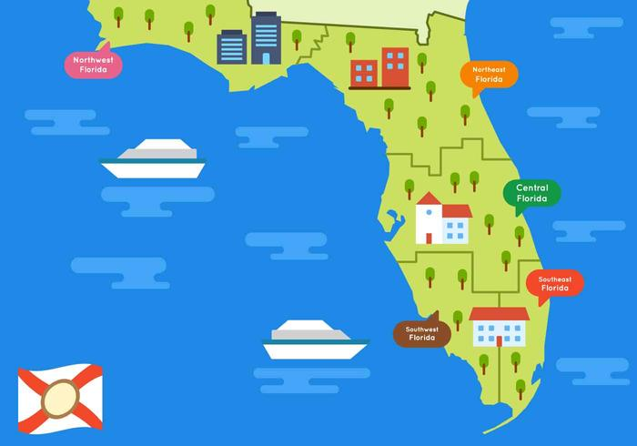 Southeast Florida Map.Free Beautiful Florida Map Vector Download Free Vector Art Stock