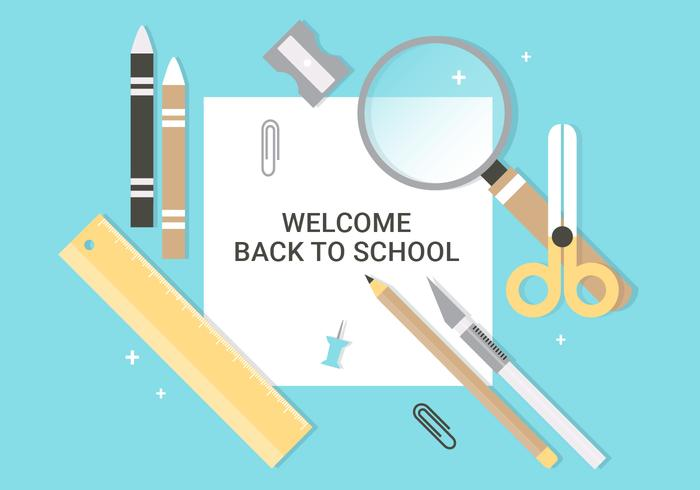 Free Flat Design Vector Back to School Accessories