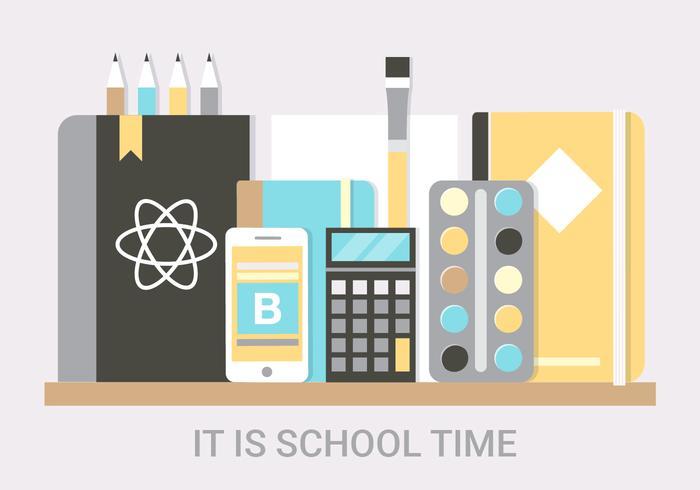 Elementos vectoriales gratuitos de la escuela plana