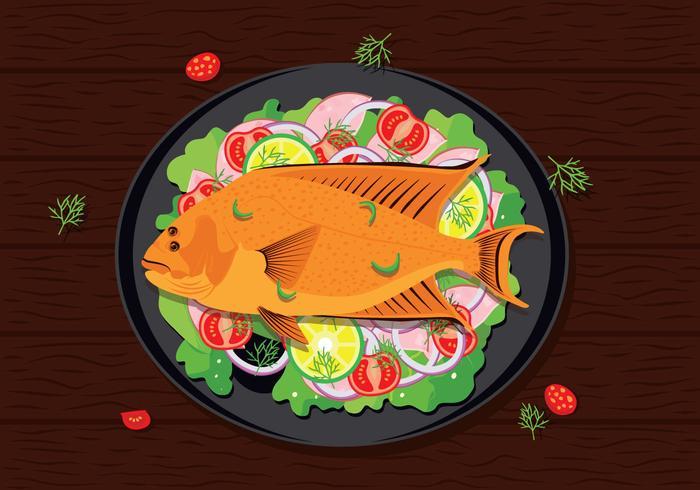 Flounder pescado mariscos ilustración vectorial