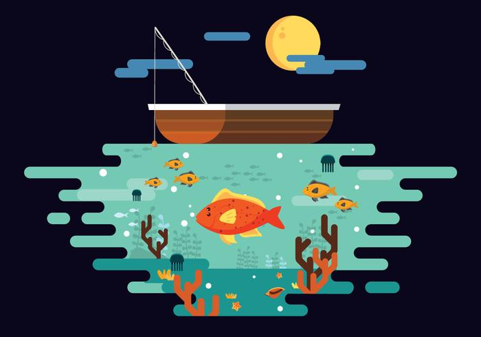 Fishing Flounder Fish In Deep Sea Vector Flat Illustration
