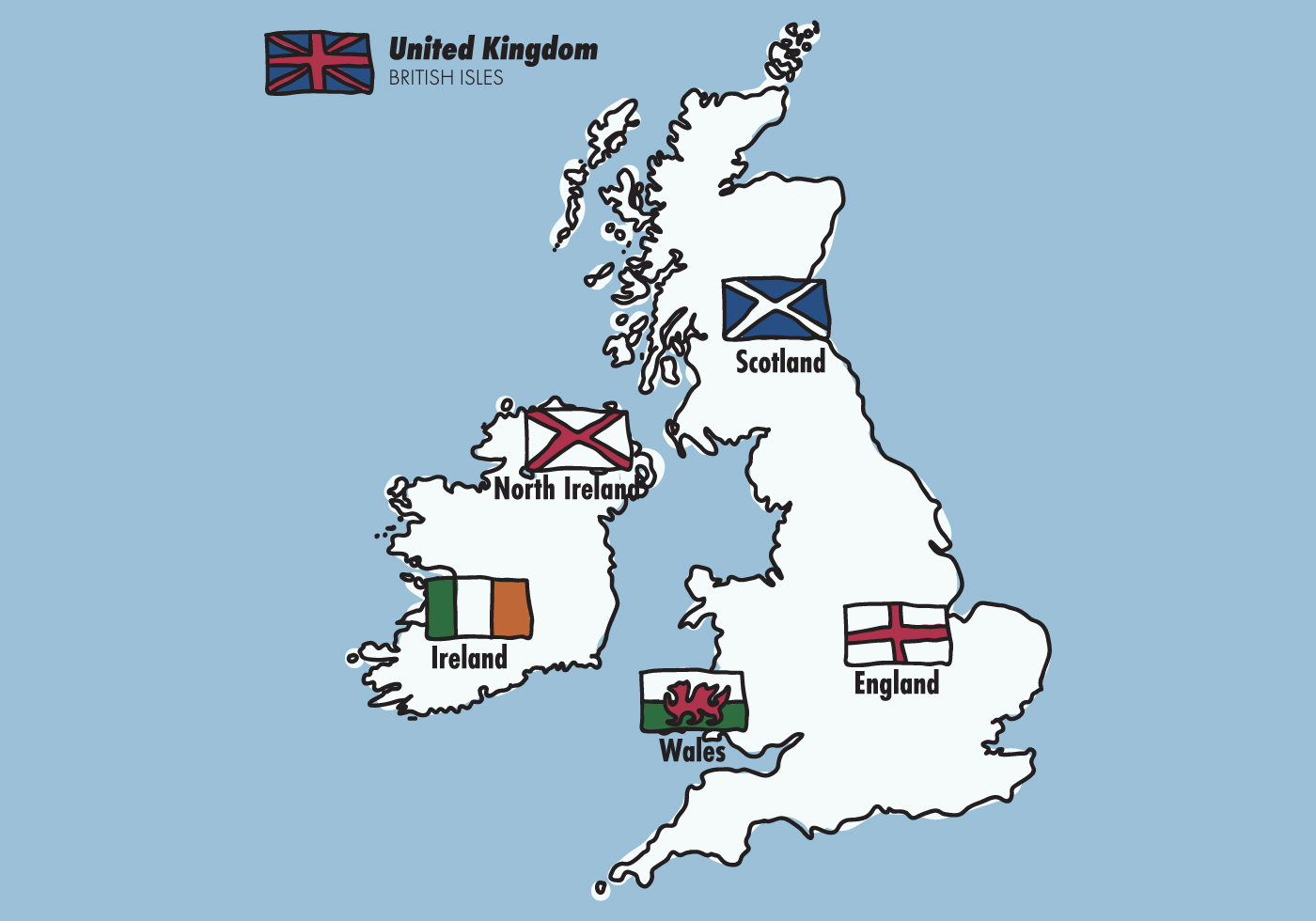 Map Of England Ireland Scotland Wales.British Isles Flags Download Free Vector Art Stock Graphics Images