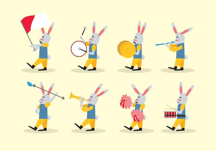 Rabbit Marching Band Vector
