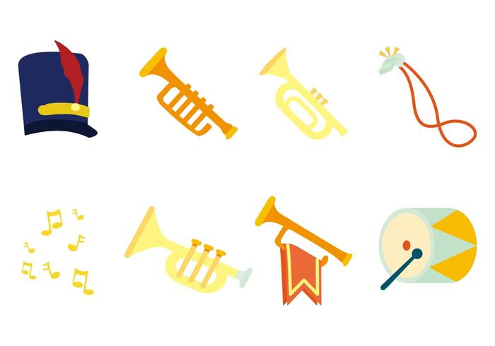 Freie Marching Band Instrument Icons Vektor