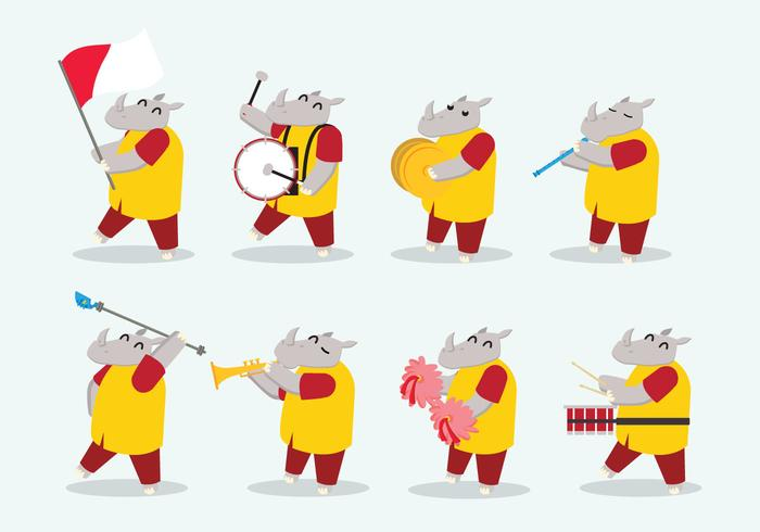 Rhinoceros Marching Band Vector