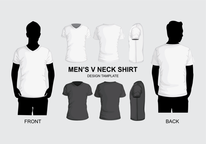 men s v neck shirt template download free vector art stock