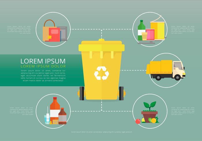 Reciclar y reutilizar la caja de hojalata y otras basuras vector