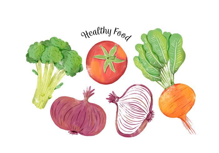 Légumes colorés à l'aquarelle flottant