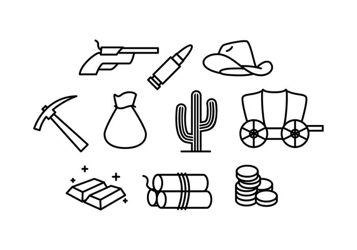 Wild West and Gold Rush Line Icon Vector