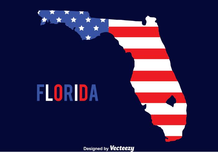 América Bandeira On Florida Map Vector