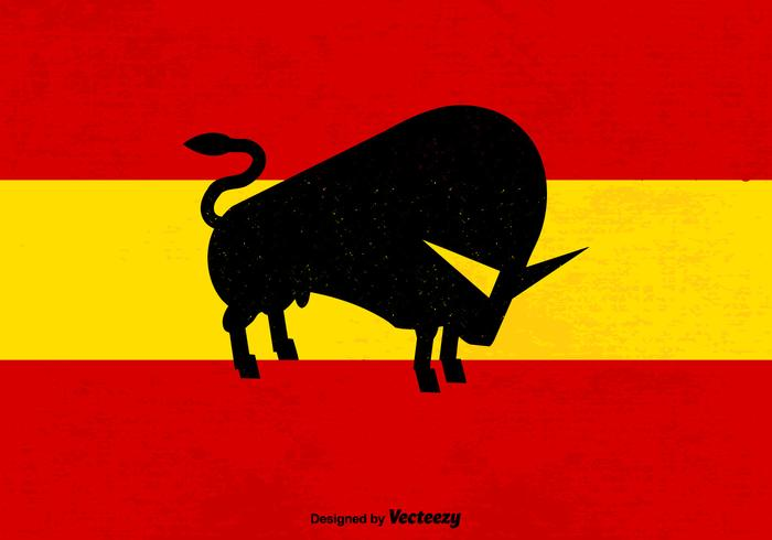 Abstract Bull Silhouette On Grunge Spanish Flag Background
