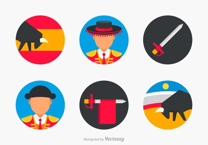 Flat Bull Fighter Vector Icons