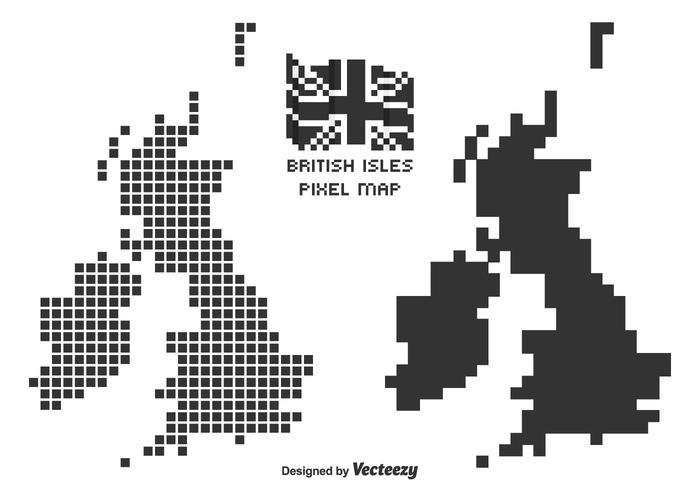 Black British Isles Pixel Art Vector Maps