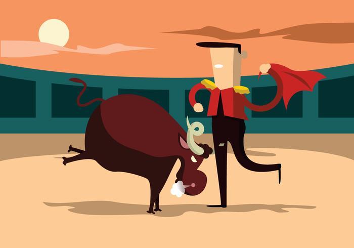 Ilustración de vector de combatiente de toro