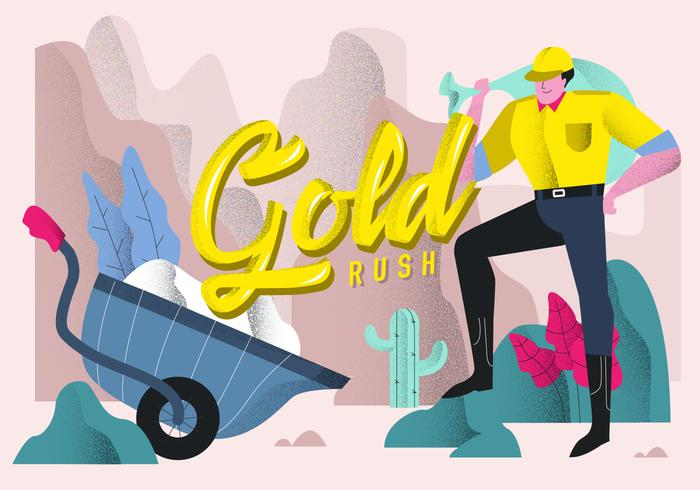 Gold Rush Typographic Background Vector Illustration