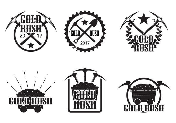 Set of vintage gold rush vectors