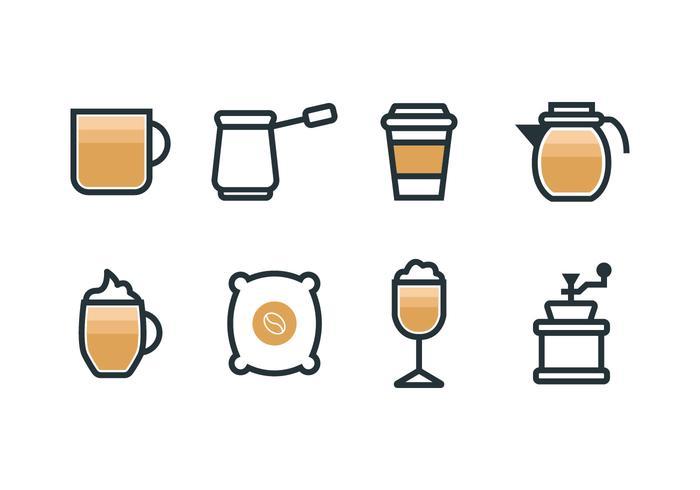 Iconos de conjunto de cafetera