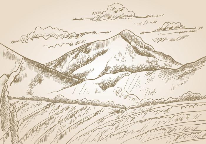 Gravure Sketch Of A Mountains vector