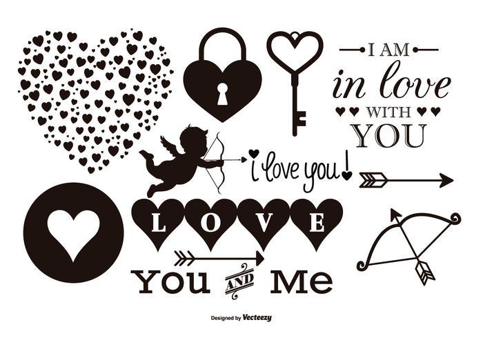 Vector liefde elementen collectie