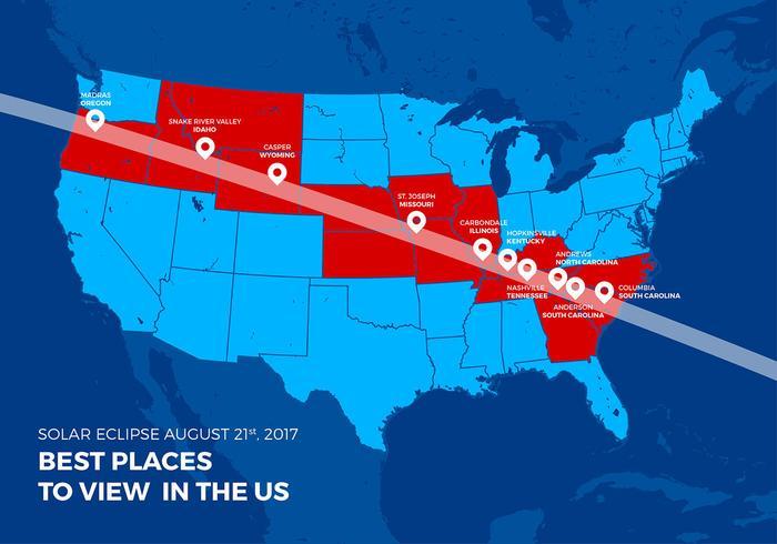 Mapa do Eclipse Solar Total dos EUA Melhores Locais de Vector Livre