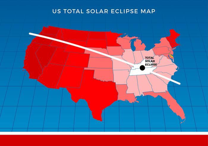 Mapa do Eclipse Solar Total dos EUA Free Vector