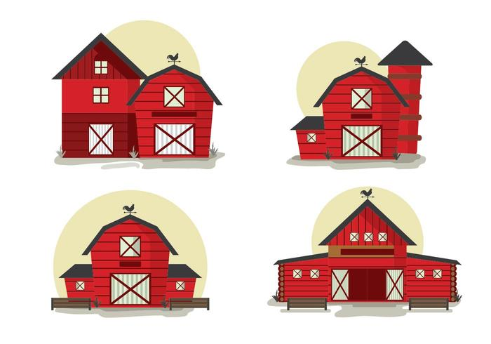 Red Barn Front View Vector