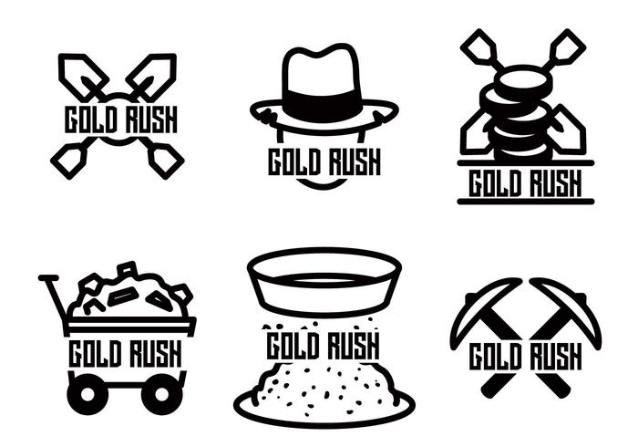 Gold rush vector set
